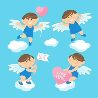 Cute flat design cupid character collection