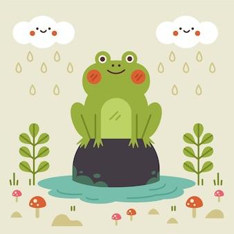 かわいいフラットデザインのカエルのイラスト