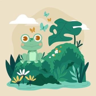 Симпатичная плоская иллюстрация лягушки