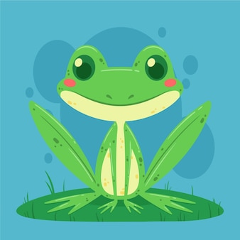 Cute flat design frog illustration