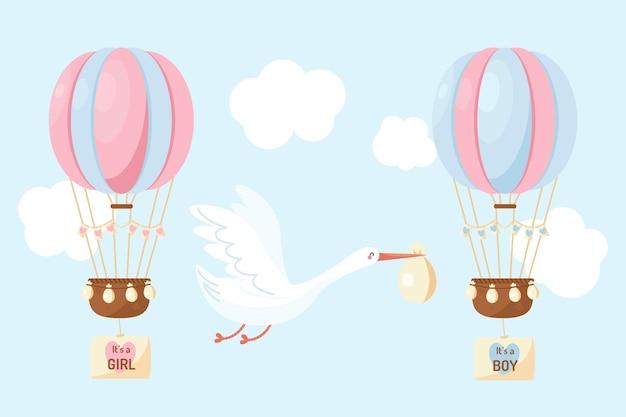 Cute flat design gender reveal illustration