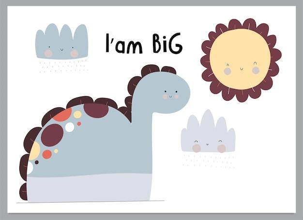 Cute flat dinosaurs illustration for kids