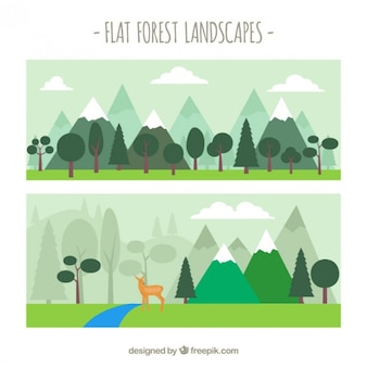 Cute flat forest landscapes