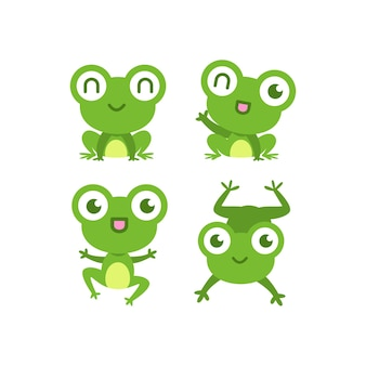 Cute flat frog collection