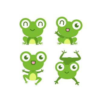 Коллекция симпатичных плоских лягушек