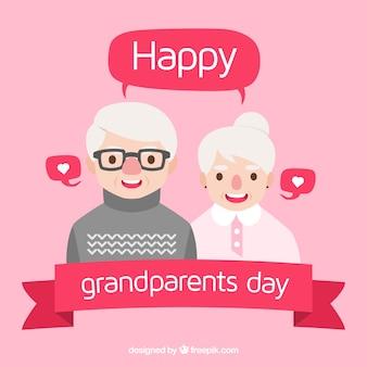 귀여운 플랫 조부모의 날 디자인