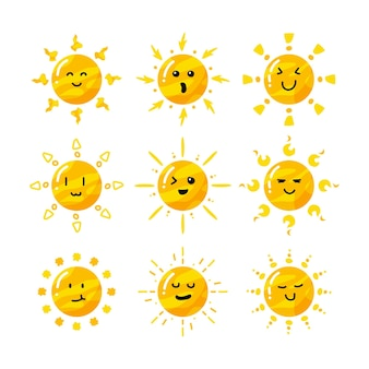 Cute flat hand drawn cartoon sun collection set