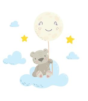 かわいいフラット手描きイラストクマとバルーン