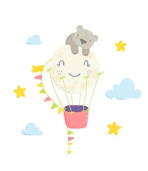 かわいいフラット手描きイラストクマと熱気球