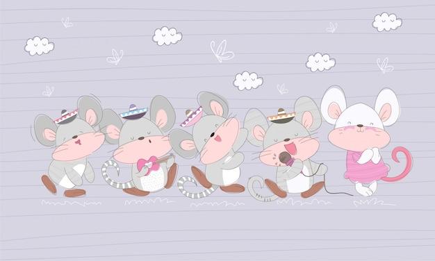 Cute flat little mouse cartoon illustration