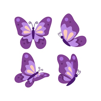 Cute flat purple butterfly collection