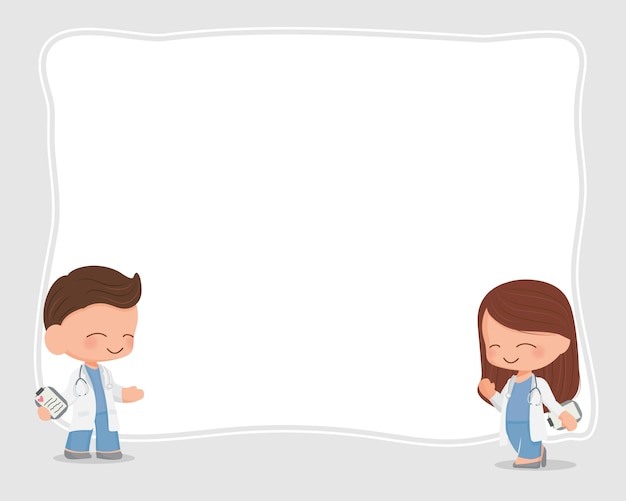 Cute flat style cartoon young doctors couple with blank board copy space for text