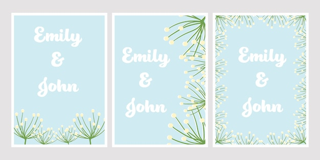 Cute flat style dandelion on blue color for wedding invitation card template