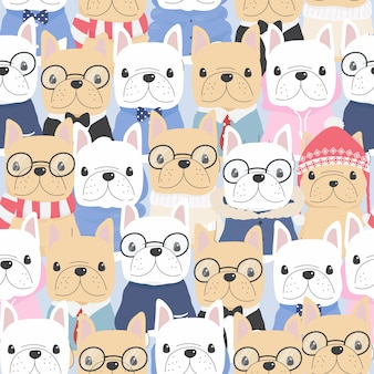 Cute flat style french bulldog dog in gentle man costume seamless pattern