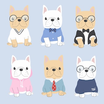 Cute flat style french bulldog dog in gentle man costume