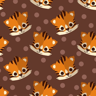 Cute flat tiger head vector seamless pattern.