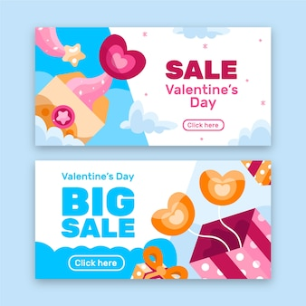 Cute flat valentine's day sale banners