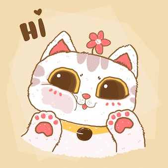Cute flat vector fluffy white cat face close on clear mirror, idea for greeting card, child stuff print, nursury wall