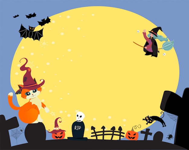 Cute flat vector happy halloween a witch ride a magic bloom, flying over the full moon with cat and bat, copy space for text