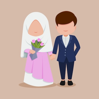かわいいフラット結婚式漫画カップルヒジャーブ