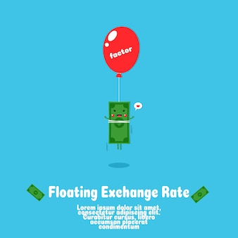 Cute floating  money cartoon