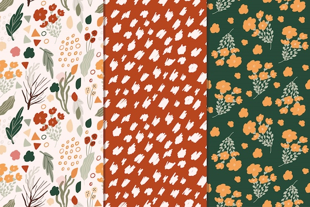 Cute floral abstract seamless pattern collection