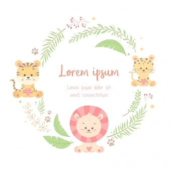 Cute floral animal  frame card