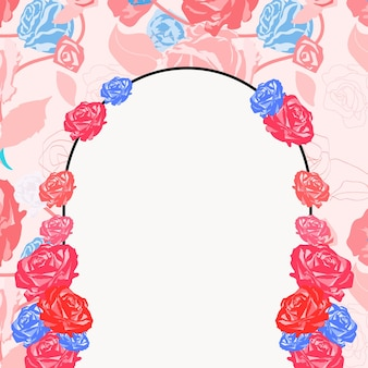 Simpatica cornice floreale ad arco con rose rosa su bianco