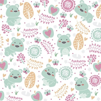 Cute floral background with bears