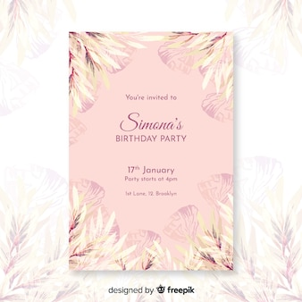 Cute floral birthday invitation template