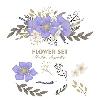 Mazzi floreali carini, set di fiori clipart