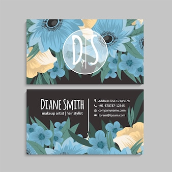 Cute floral business card with blue flowers