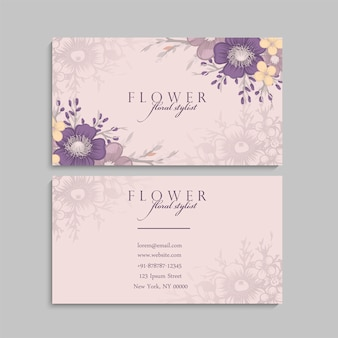 Cute floral business card with violet flowers