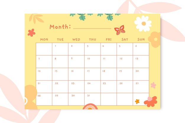 Simpatico calendario primaverile floreale quotidiano