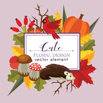 Cute floral design vector autumn flat style nature background