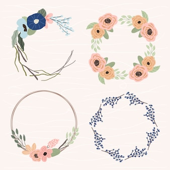 Cute floral frame set 4 in 1