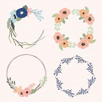 Cute floral frame set 4 in 1