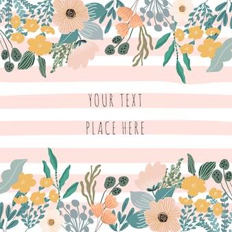 Cute floral frame and stripe background