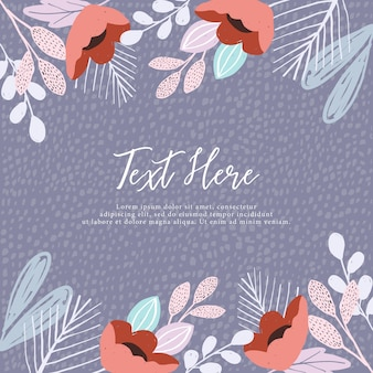 Cute floral frame and textured background