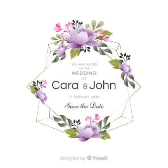 Cute floral frame wedding invitation