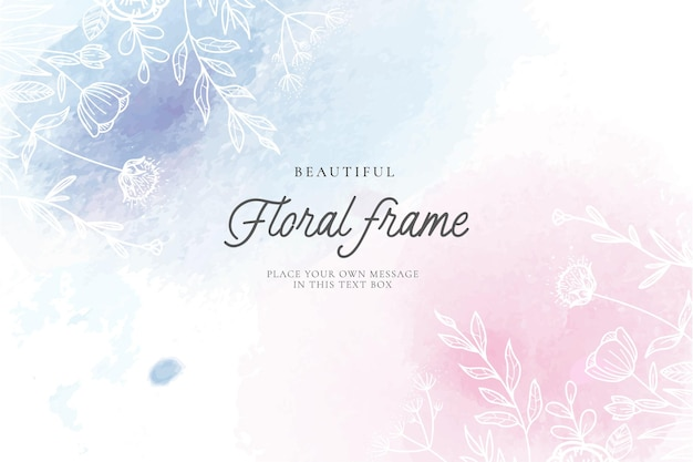 Cute floral frame with watercolor background