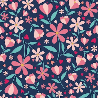 Cute floral and hearts seamless pattern with blue background
