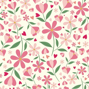 Cute floral and hearts seamless pattern