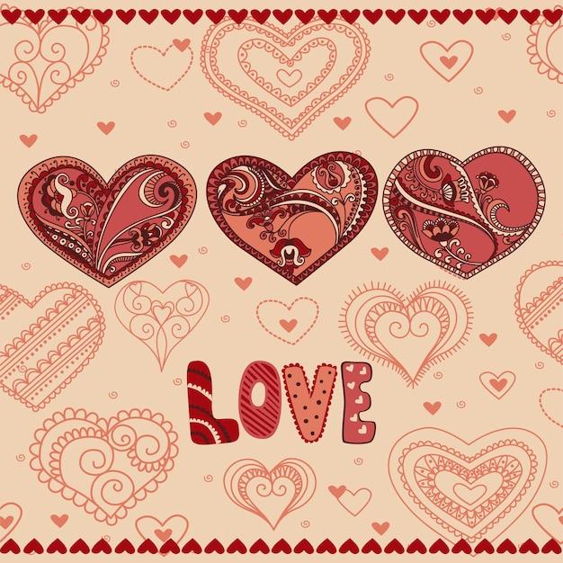 결혼식과 발렌타인 디자인을 위한 귀여운 꽃 하트 세트입니다.