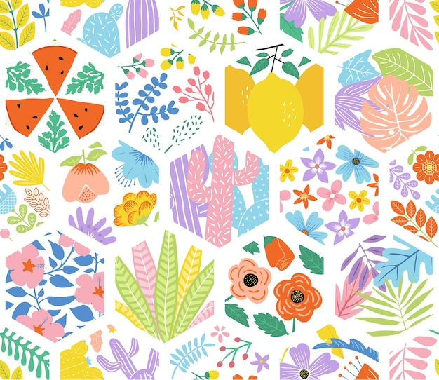 Cute floral hexagonal seamless pattern