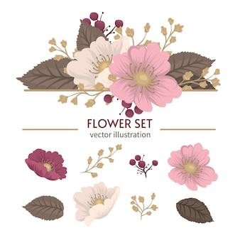 Set di fiori clipart mazzi floreali isolati carino