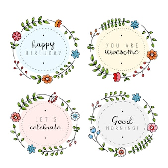 Cute floral labels with positive messages