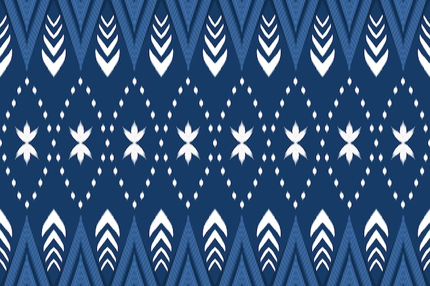 Cute floral navy blue asian ethnic geometric oriental ikat seamless traditional pattern. design for background, carpet, wallpaper backdrop, clothing, wrapping, batik, fabric. embroidery style. vector