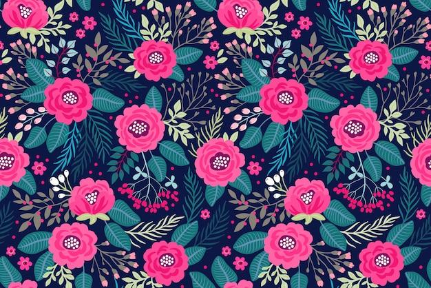 バラのピンクの花のかわいい花柄。シームレスなテクスチャ。紺色の背景。