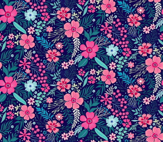 小さな花のかわいい花柄。ちっぽけなプリント。シームレスなテクスチャ。ファッションプリントのエレガントなテンプレート。小さな色とりどりの花で印刷。紺色の背景。